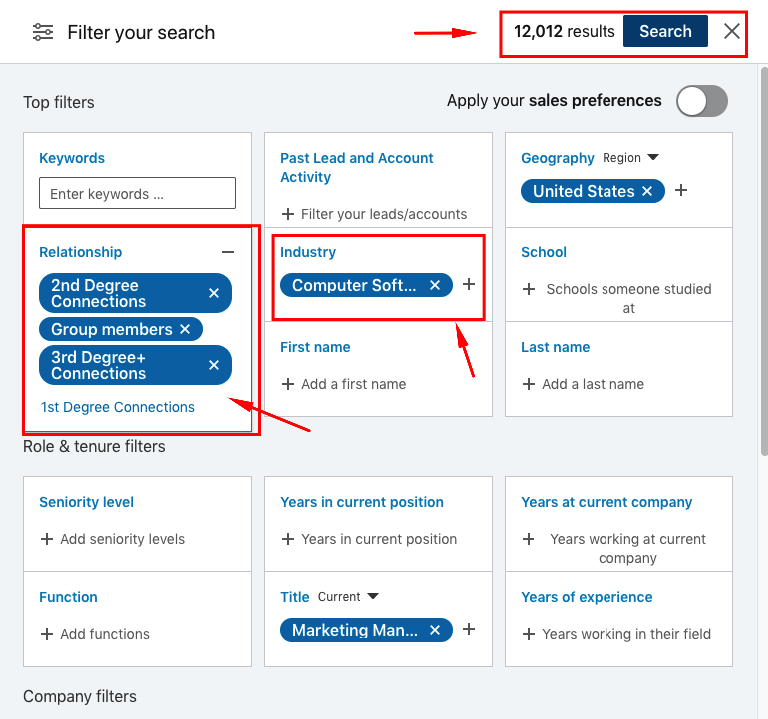 how to search contacts on LinkedIn
